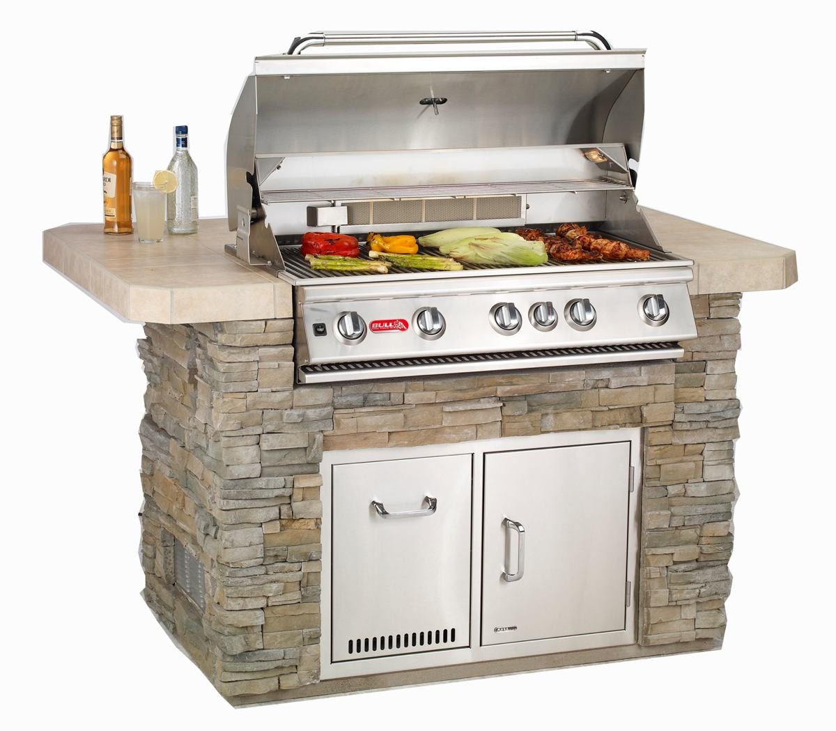 Bull outdoor products bbq 57569 brahma 90 000 btu grill for Pre built outdoor kitchen islands