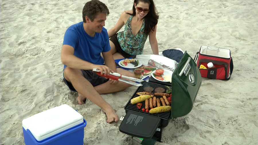 The grill is sized perfectly for the beach, tailgate, or family picnic