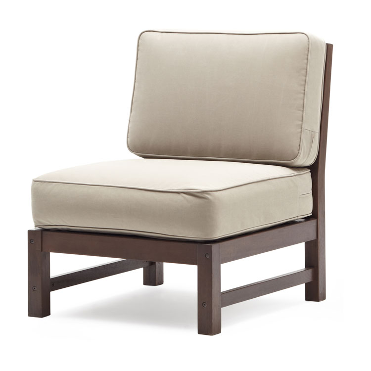 Strathwood Anderson Hardwood Sectional Armless Chair Garden Outdoor