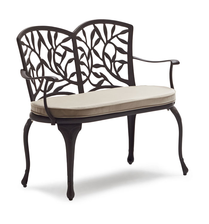 Strathwood Flores Cast Aluminum Bench with Seat Cushion Patio Furniture Sale