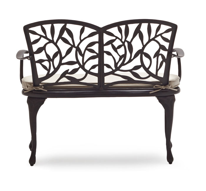Strathwood Flores Cast Aluminum Bench with Seat Cushion Low Price Patio Fur