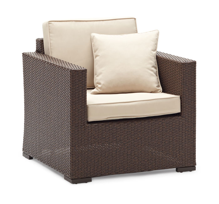 Wicker lounge chair adds comfort and style to any outdoor sitting area