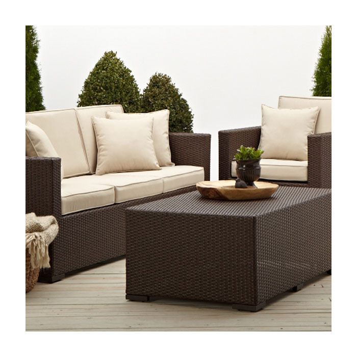 Strathwood griffen all weather 3 seater wicker sofa Outdoor sofa tables