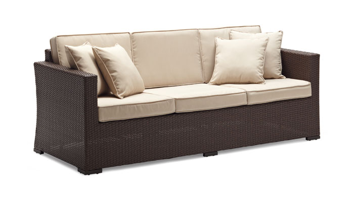 Strathwood Griffen All Weather Wicker 3 Seater Sofa Dark Brown