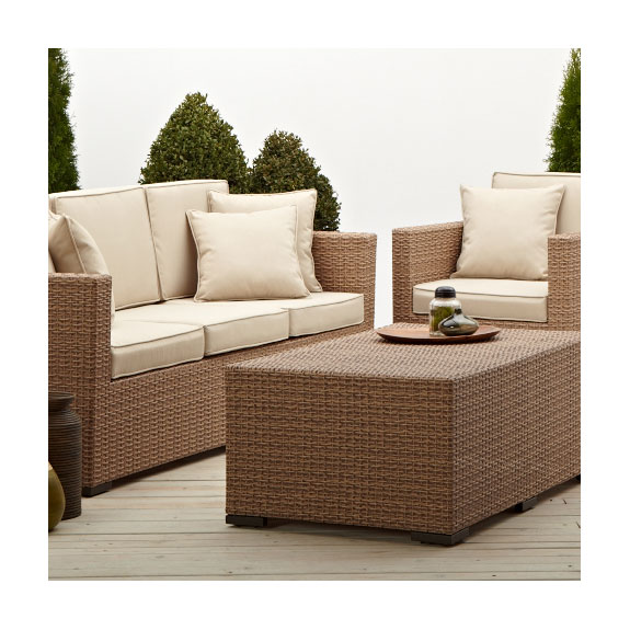 Cane Sofa Amazon: Strathwood Griffen All-Weather Wicker 3-Seater Sofa Natural