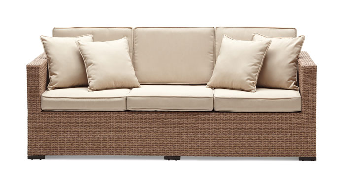 Strathwood Griffen All Weather Wicker 3 Seater Sofa Natural Garden Outdoor