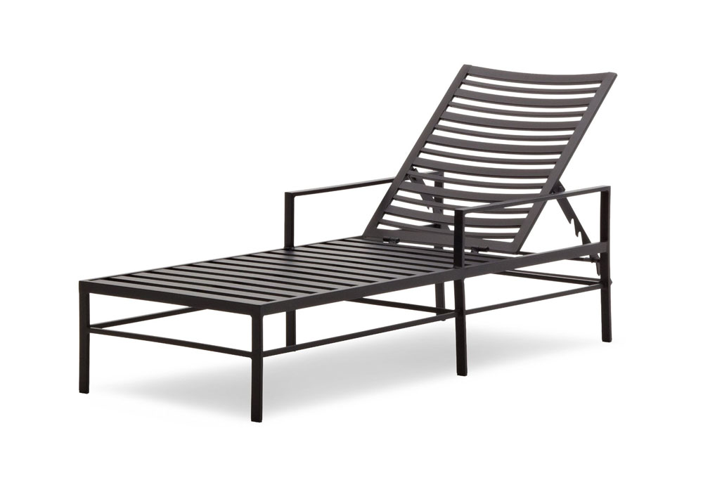Strathwood rhodes chaise lounge chair garden for Black metal chaise lounge outdoor