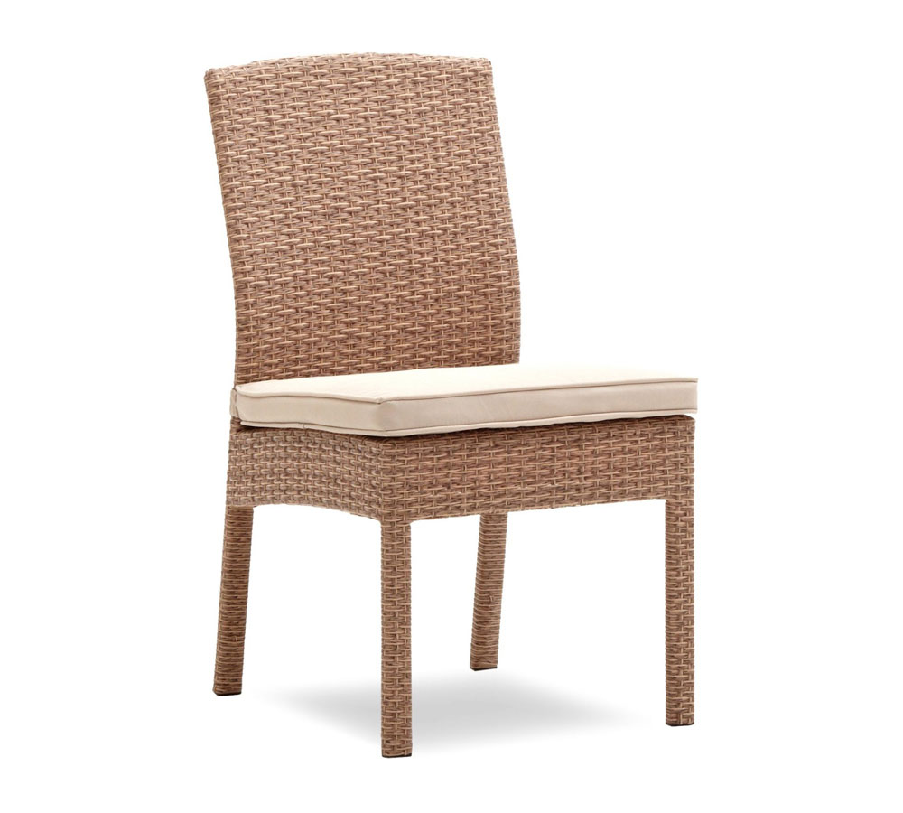 Strathwood Griffen All Weather Wicker Dining Armless Chair Natural Set Of 2