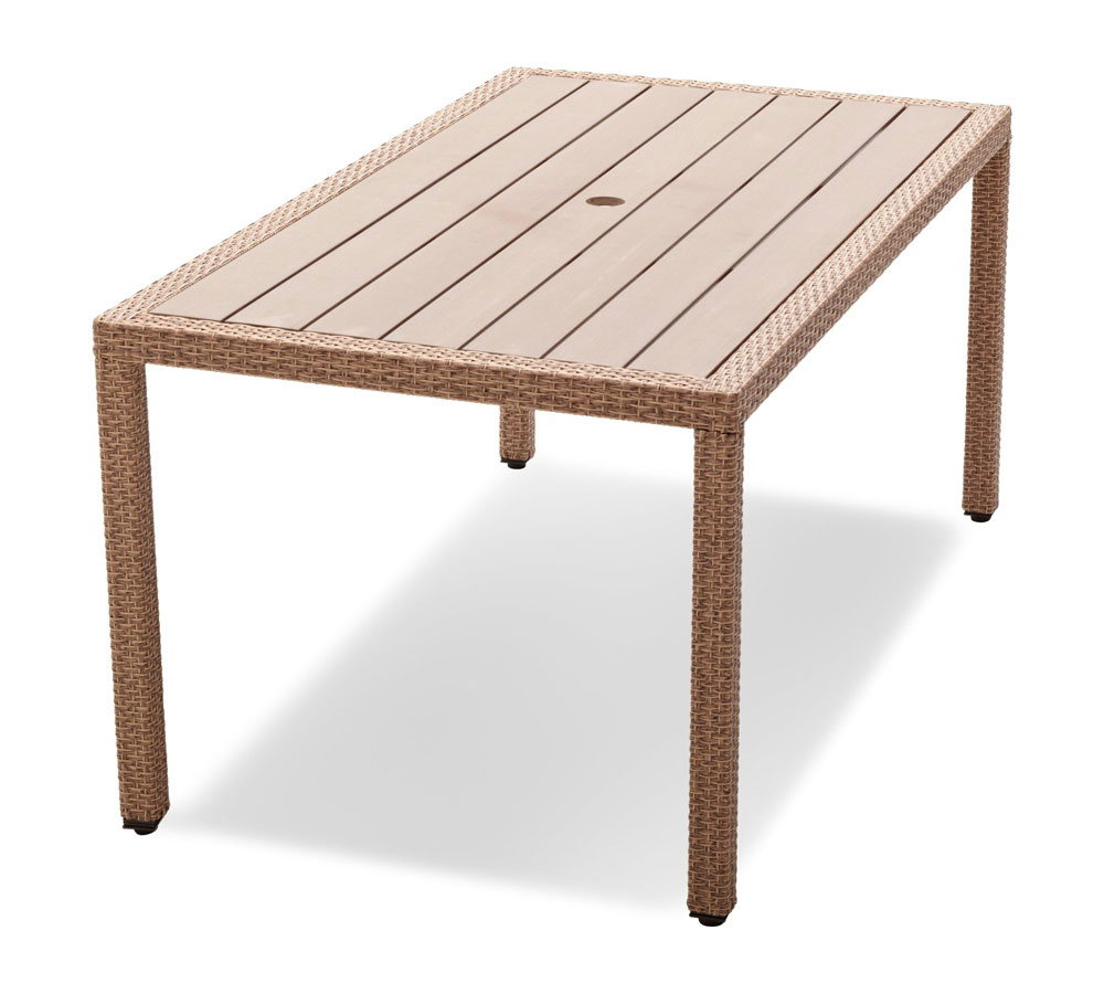 Wicker Poly Rattan And Resin Outdoor Dining Table Natural