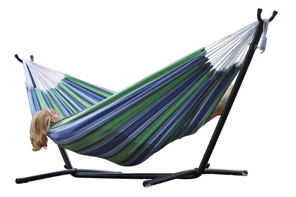 New Vivere Double Hammock Space Saving Steel Stand Patio
