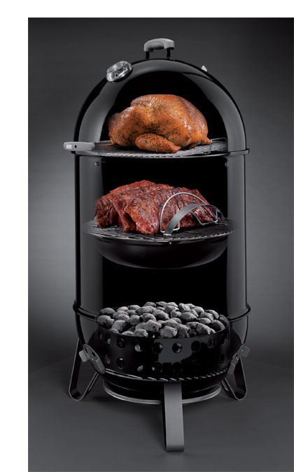 weber 721001 smokey mountain cooker 18 inch charcoal smoker black patio lawn. Black Bedroom Furniture Sets. Home Design Ideas