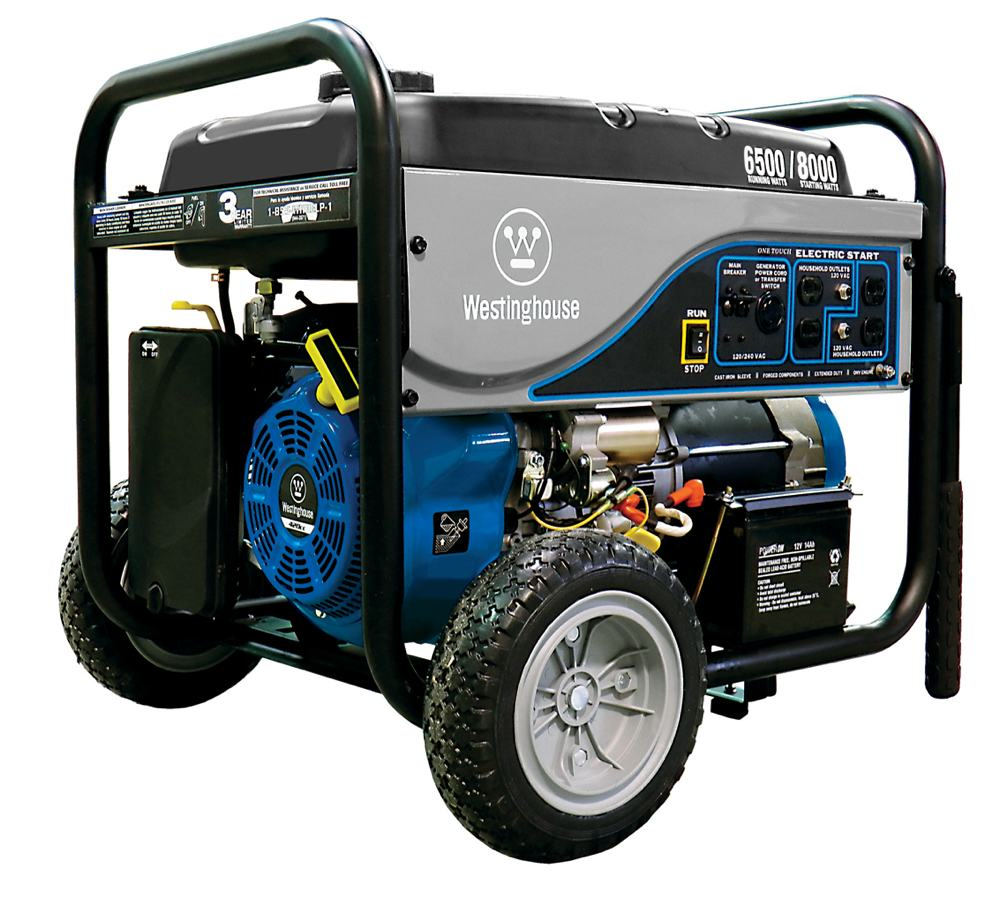 The WH6500E gas-powered generator with 6,500 running watts and 8,000