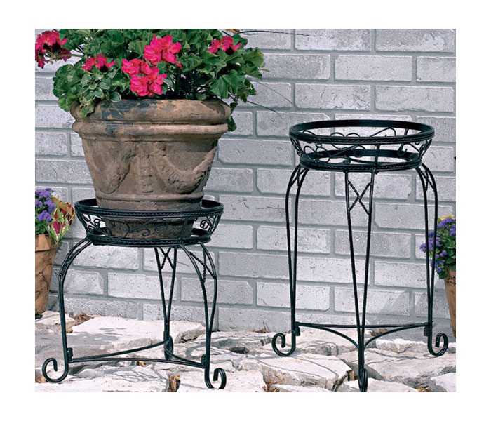 Black metal home garden decor flower pot plant planter stand indoors or outdoors ebay - Steel pot plant stands ...