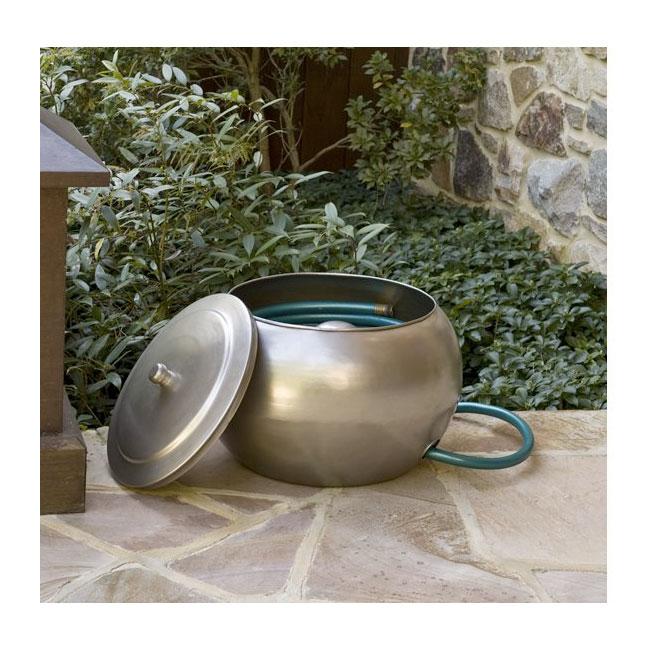 150 Feet Garden Hose Holder Free Lid Steel Decorative Container Magazine Rack Ebay