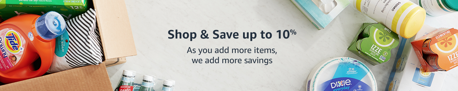 Amazon Pantry. Shop and save up to 15%. As you add more items, we add more savings.