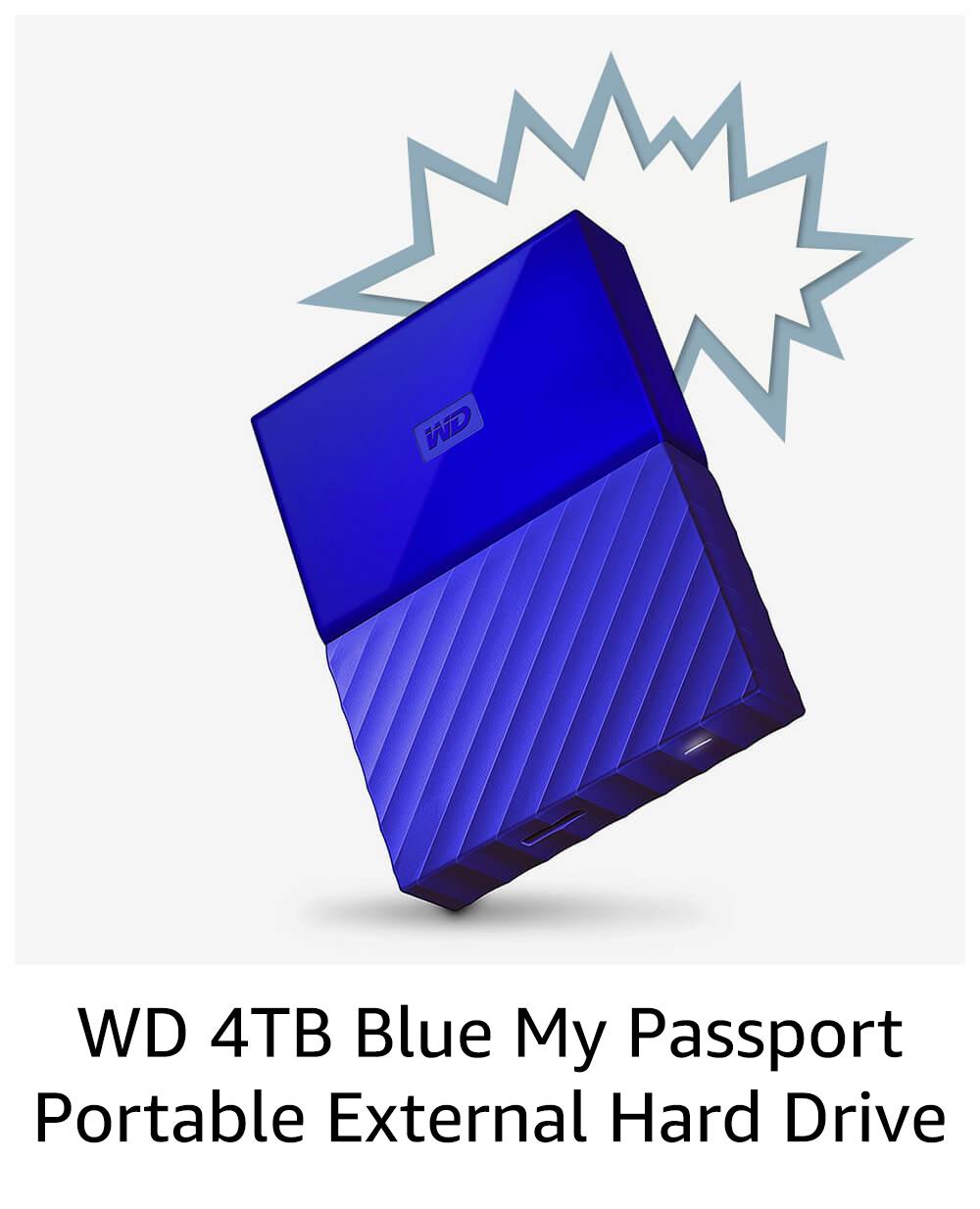 WD 4TB Blue My Passport Portable External Hard Drive