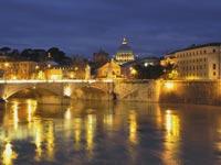 night shot of a bridge in rome