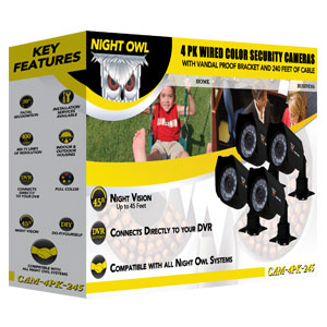 Amazon.com : Night Owl Security CAM-4PK-CM245 4-Pack Color Wired ...
