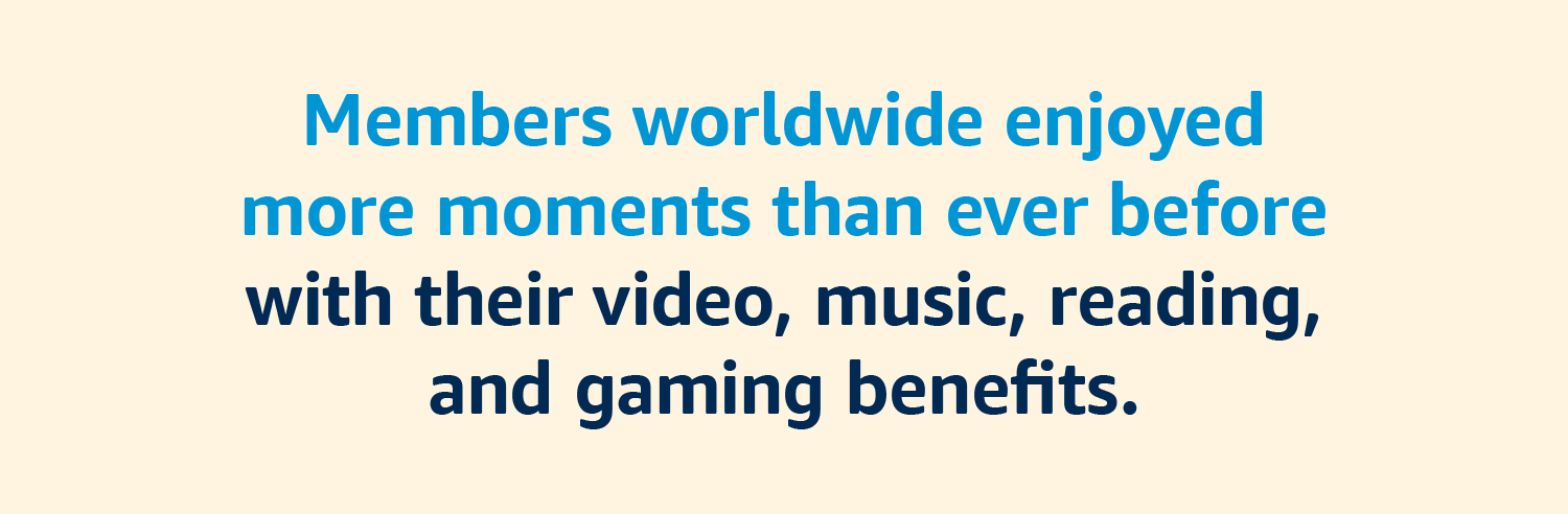 Members worldwide enjoyed more moments than ever before with their video, music, reading, and gaming benefits.