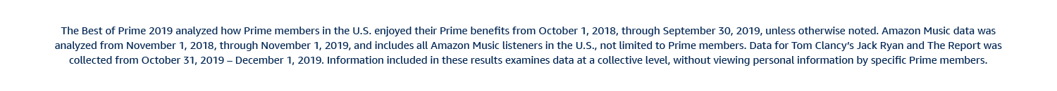 The Best of Prime 2019 analyzed how Prime members in the US enjoyed their benefits from October 1, 2018 through September 30, 2019, unless otherwise noted. Amazon Music data was analyzed from November 1, 2018 thorugh November 1, 2019 and includes all Amazon Music listeners in the US, not limted to Prime members. Data for Tom Clancy's Jack Ryan and The Report was collected from Octover 31, 2019 through December 1, 2019. Information included in these results examines data at a collective level, without viewing personal information by specific Prime members