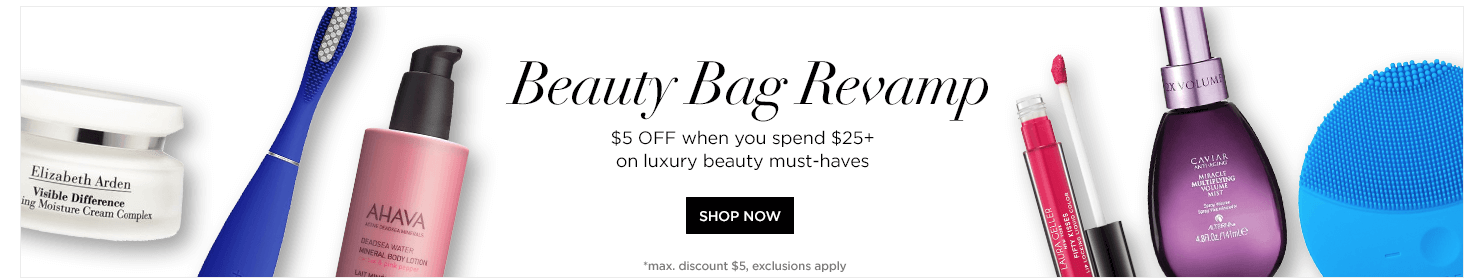 Save $5 off $25 on Luxury Beauty products using code BBEAUTY5FOR25