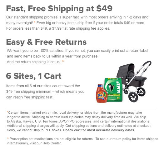 Fast, Free Delivery on all orders $49+