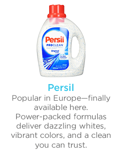 PERSIL Popular in Europe--finally available here.  Power-packed formulas deliver dazzling whites, vibrant colors, and a clean you can trust.