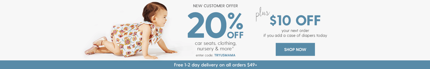 20% off thousands of items, add a case of diapers to get $10 credit