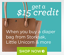 $15 credit with select diaper bags