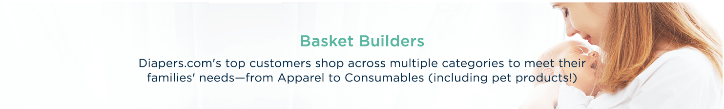 Basket Builders  Diapers.com's top customers shop across multiple categories to meet their families' needs—from Apparel to Consumables (including pet products!)