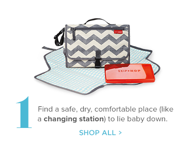 1 Find a safe, dry, comfortable place (like a changing station) to lie baby down.