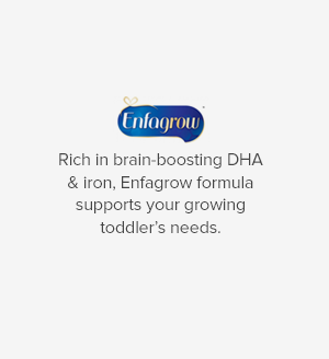 Enfagrow Rich in brain-boosting DHA & iron, Enfagrow formula supports your growing toddler's needs.