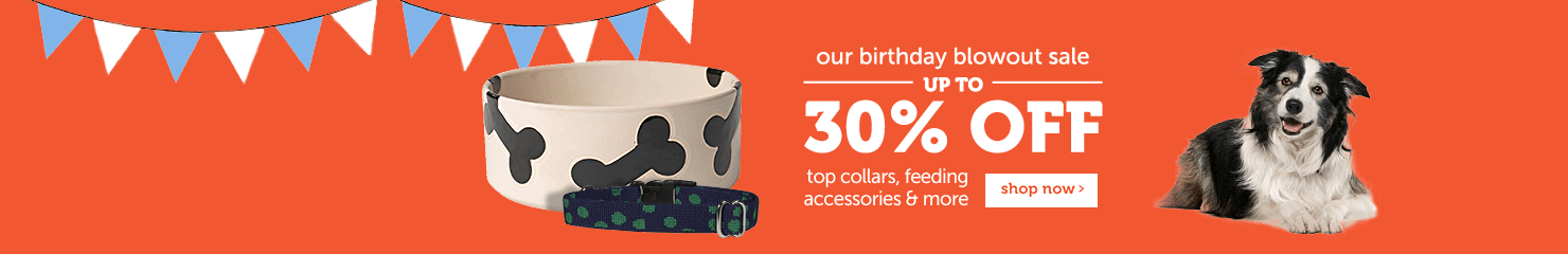 Our birthday blowout sale Up to 30% OFF top collars, feeding accessories and more