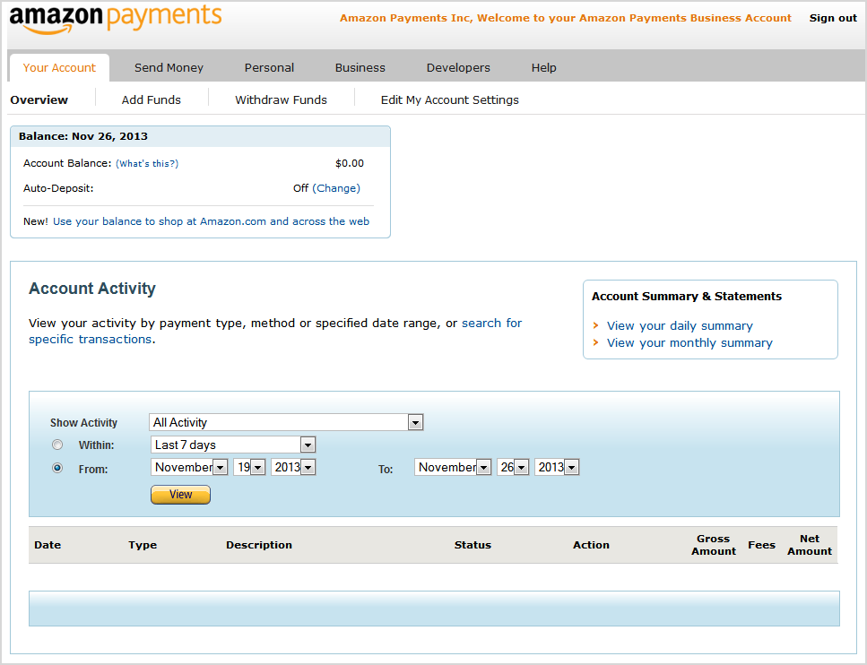 amazon payments account withdraw