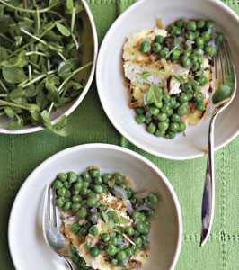 Peas with Baked Ricotta