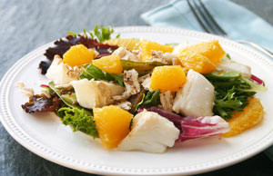 Tangerine Halibut Salad with Snow Peas and Mushrooms