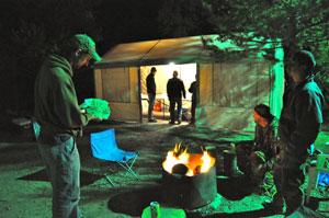 A picker's payday at matsutake camp, Crescent Lake, Oregon.