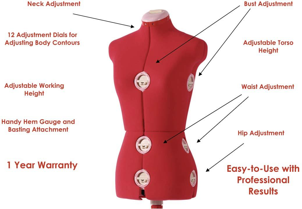Amazon.com: SINGER 12-Dial Adjustable Dress Form, Large Red