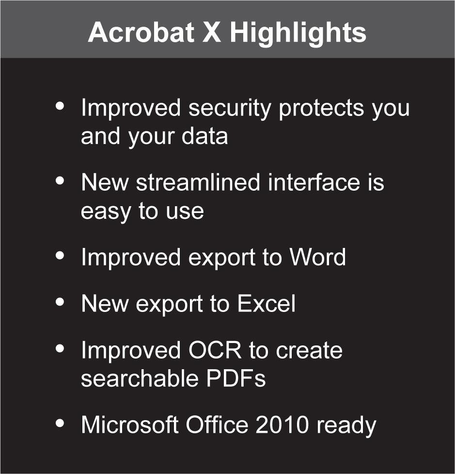 Acrobat X Standard Highlights