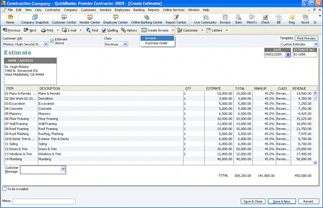 Amazoncom QuickBooks Premier Contractor Edition OLD VERSION - Contractor estimate and invoice software