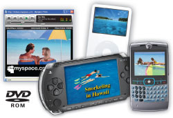 Combine photos, music, and videos into movies for DVD, iPod, PSP, and the Web.