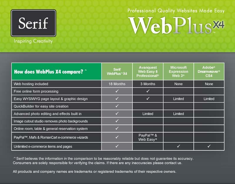 WebPlus X4 Comparison Chart