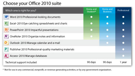 microsoft office pro vs home and business