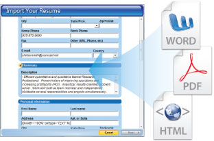 import your existing resume - Professional Resume Maker