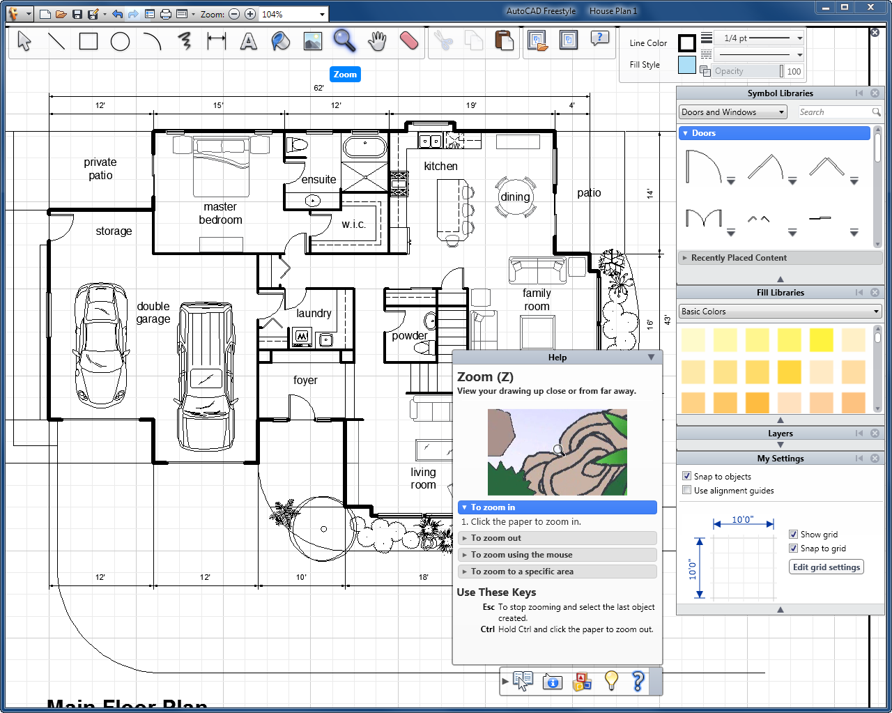 Autocad freestyle old version software House plan drawing 3d