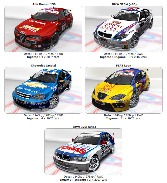 All the real world championship cars from the WTCC 2007 series