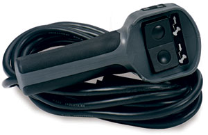 The wired rubber remote with 12-foot cord included with the Warn Industries 26502 M8000 8000-lb self-recovery winch