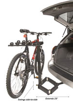 The Heininger Advantage glideAWAY deluxe four bike carrier mounted with bike and extended