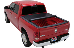 A TruXedo Lo Profile QT soft roll-up tonneau cover installed on a Dodge Ram truck