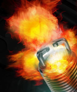 The faster, deeper flame front of the E3 Spark Plug allowed by the open design of its DiamondFire electrode